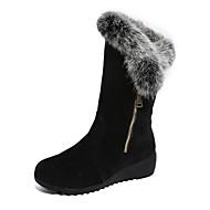 abordables -Femme Chaussures Cachemire Hiver Bottes de neige Bottes Bout rond Bottes Mi-mollet Pour Décontracté Noir Bourgogne