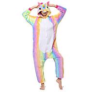 Kigurumi-pyjamas Pegasus / Unicorn Onesie-pyjamas Kostume Flannelstof Regnbue Cosplay Til Voksne Nattøj Med Dyr Tegneserie Halloween