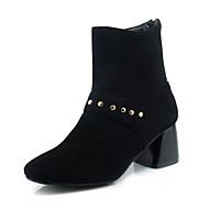 Mujer Zapatos Semicuero Invierno Botas de Moda Botas Tacón Cuadrado Dedo cuadrada Mitad de Gemelo Remache Negro / Amarillo JBNJ45O70