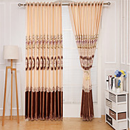 cheap Curtains Drapes-Rod Pocket Grommet Top Tab Top Double Pleat Curtain Formal Casual Country, Embroidery Vintage Bedroom Polyester Blend Material Curtains