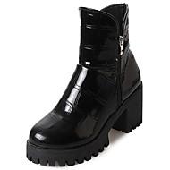 お買い得  レディースブーツ-女性用 靴 ラバー 冬 コンバットブーツ ブーツ ラウンドトウ のために アウトドア ブラック