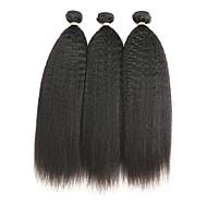 halpa -Remy Intialainen Hiukset kutoo Kinky Straight Hiuspidennykset 3kpl Musta