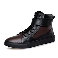 Men's Boots Spring Fall Winter Cowhide Outdoor Casual Flat Heel Lace-up Studded Black Brown