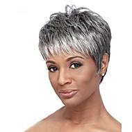 Ljudski kose bez kaplama Ljudska kosa Prirodne kovrče Tamni korijeni Pramenovi/Balayage Kratko Machine Made Perika Žene