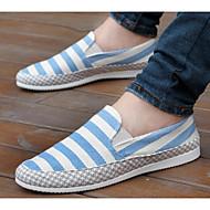 baratos Sapatos Masculinos-Homens Lona Primavera / Outono Conforto Mocassins e Slip-Ons Vermelho / Azul / Azul Claro