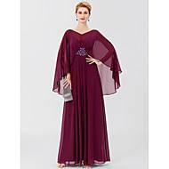 Χαμηλού Κόστους -Ίσια Γραμμή Λαιμόκοψη V Μακρύ Σιφόν Φόρεμα Μητέρας της Νύφης με Χάντρες Πλισέ με LAN TING BRIDE®