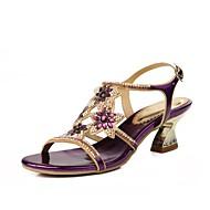 Feminino Sapatos Courino Primavera Verão Botas da Moda Sandálias Dedo Aberto Pedrarias Cristais Gliter com Brilho Presilha Para Social