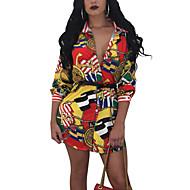 Dame Plusstørrelser I-byen-tøj Bodycon Kjole Trykt mønster Mini Krave