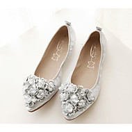 cheap Women's Flats-Women's Shoes PU Spring Fall Comfort Flats for Casual Gold Black Silver