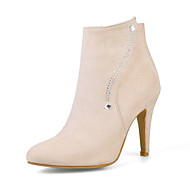 お買い得  人気靴-女性用 靴 レザーレット 冬 ファッションブーツ ブーティー ブーツ ポインテッドトゥ ブーティー/アンクルブーツ のために ドレスシューズ パーティー ブラック グレー ピンク アーモンド