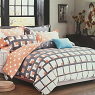 Contemporary 4 Piece Poly/Cotton Printed Poly/Cotton 1pc Duvet Cover 2pcs Shams 1pc Flat Sheet