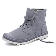 Men's Shoes Canvas Spring Fall Comfort Combat Boots Boots For Casual Khaki Blue Gray Black