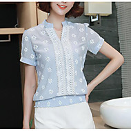 Mulheres Blusa Sólido Colarinho Chinês