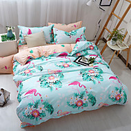 billige Blomstrete dynetrekk-Sengesett Blomstret 4 deler Polyester/Bomull Reaktivt Trykk Polyester/Bomull 4stk (1 Dynebetræk, 1 Lagen, 2 Pudebetræk) (Hvis