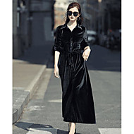 Damer I-byen-tøj Swing Kjole Ensfarvet,Rund hals Midi Langærmet 100% Polyester Alm. taljede Mikroelastisk Medium