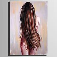 billiga Människomålningar-Hang målad oljemålning HANDMÅLAD - Människor Rustik Moderna Duk