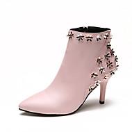 Feminino Sapatos Couro Ecológico Primavera Outono Conforto botas de desleixo Saltos Caminhada Salto Agulha Ponta Redonda Apliques Para