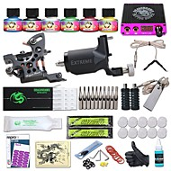 cheap Starter Tattoo Kits-Tattoo Machine Starter Kit - 1 pcs Tattoo Machines with 6 x 5 ml tattoo inks, Professional LCD power supply Case Not Included 1 cast iron machine liner & shader, 1 rotary machine liner & shader
