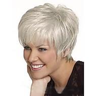 Naisten Ihmisen hiukset Capless Peruukit Musta Medium Auburn Valkoinen Mansikka Blonde /Vaalea vaalea Lyhyt Suora Sivuosa