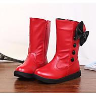 baratos Sapatos de Menina-Para Meninas Sapatos Couro Ecológico Outono / Inverno Conforto / Botas de Neve Botas Caminhada Laço para Branco / Preto / Vermelho / Botas Cano Médio
