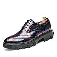 お買い得  メンズスニーカー-メンズ 靴 秋 アイデア オックスフォードシューズ のために カジュアル ブラック パープル イエロー ブルー