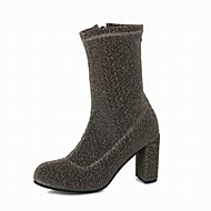 cheap Women's Boots-Women's Shoes Fabric Glitter Winter Fashion Boots Boots Chunky Heel Mid-Calf Boots For Office & Career Dress Silver Black Gold