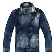 Masculino Jaquetas Jeans Casual Moda de Rua Outono Inverno,Sólido Padrão Outros Colarinho de Camisa Manga Longa