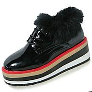 Feminino Sapatos Couro Ecológico Inverno Conforto Oxfords Ponta Redonda Para Casual Preto