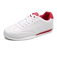 Masculino sapatos Couro Primavera Outono Conforto Tênis Caminhada Cadarço Para Atlético Branco Rosa e Branco Branco/Preto