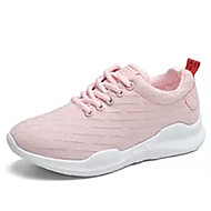 Women's Sneakers Comfort PU Spring Fall Casual Lace-up Flat Heel Blushing Pink Black White Flat
