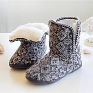 Damen Schuhe Polyamid-Faser Baumwolle Herbst Winter Komfort Flaum Futter Slippers & Flip-Flops Mittelhohe Stiefel Für Normal Grau