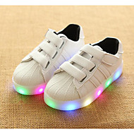 Para Meninas sapatos Couro Ecológico Primavera Outono Conforto Tênis Para Casual Branco Preto Rosa claro