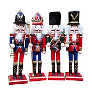 4Pcs Christmas Decorations Wooden Crafts Decorative Ornaments Gifts Nutcracker Fresh Style