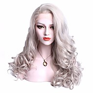 Women Synthetic Wig Lace Front Medium Length Wavy Grey With Baby Hair Party Wig Cosplay Wig Natural Wigs Costume Wig