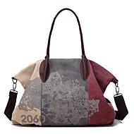 お買い得  ショルダーバッグ-女性 バッグ 冬 秋 キャンバス ショルダーバッグ ジッパー のために イベント/パーティー カジュアル ブルー パープル コーヒー