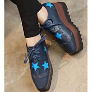 Feminino Sapatos Couro Ecológico Primavera Outono Conforto Oxfords Para Casual Preto Azul