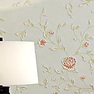 Blomstret Tapet til Hjemmet Moderne Tapetsering , Pvc / Vinyl Materiale selvklebende nødvendig bakgrunns , Tapet