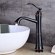 cheap Bathroom Sink Faucets-Art Deco/Retro Centerset Widespread Ceramic Valve Single Handle One Hole Oil-rubbed Bronze, Bathroom Sink Faucet
