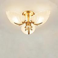 billige Taklamper-QIHengZhaoMing 3-Light Takplafond Omgivelseslys Messing Metall Glass Øyebeskyttelse 110-120V / 220-240V Varm Hvit Pære Inkludert