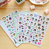 4 kpl / sarja sarjakuva tyttö päiväkirja tarra puhelin tarra leikekirja tarroja