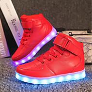 baratos Sapatos de Menino-Para Meninos sapatos Materiais Customizados Couro Envernizado Inverno Outono Tênis com LED Conforto Tênis Colchete LED Cadarço para