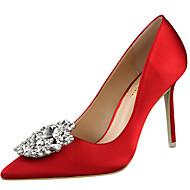 baratos Sapatos Femininos-Mulheres Sapatos Seda Verão / Outono Gladiador / Plataforma Básica Saltos Salto Agulha Dedo Apontado Apliques Vermelho / Verde / Rosa