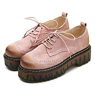 レディース 靴 レザー 春 秋 コンフォートシューズ オックスフォードシューズ 用途 カジュアル ブラック グレー ピンク カーキ色