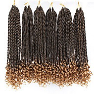 6pc/pack Ombre Senegalese Twist Crochet Braided Hair afro kinky curly end 16inch two tones Pre-twist Braiding Synthetic Hair Extensions
