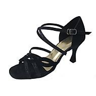 baratos Sapatilhas de Dança-Mulheres Sapatos de Dança Latina Flocagem / Glitter Sandália / Salto Salto Personalizado Personalizável Sapatos de Dança Preto / Couro