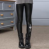 Dívčí Umělá kůže Bavlna Jednobarevné Zima Podzim Kalhoty Roztomilý Na běžné nošení Aktivní Animák Černá