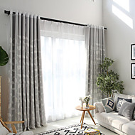 Grommet Top Double Pleat Pencil Pleat Curtain Contemporary Casual , Printed Floral Bedroom Polyester Material Blackout Curtains Drapes