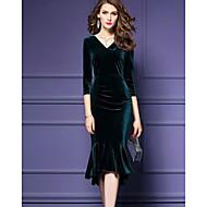 Damer I-byen-tøj Havfrue Kjole Ensfarvet,V-hals Midi 3/4-ærmer Akryl Alm. taljede Mikroelastisk Solid