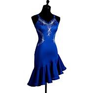 Devemos vestir-se de dança latina Vestido sem mangas de cristais de diamante / strass strass
