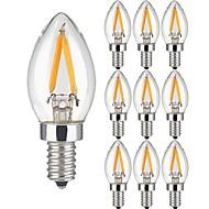 10個 2W フィラメントタイプLED電球 2 LEDの COB 温白色 150lm 3000K 交流220から240V